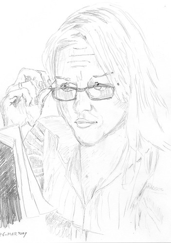 Pretty lady with reading glasses