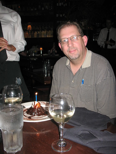 Dad and his birthday dessert