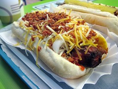 barker's red hots - bacon and cheese dog