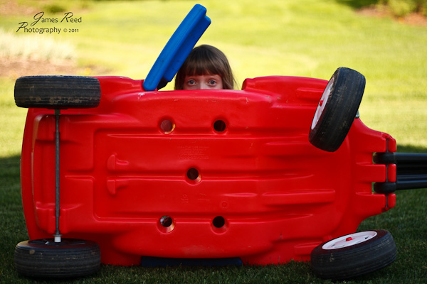 The big one peeks from behind her wagon barricade.