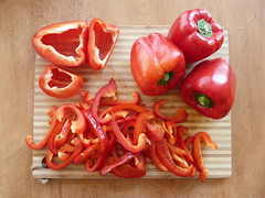 sliced red bell peppers