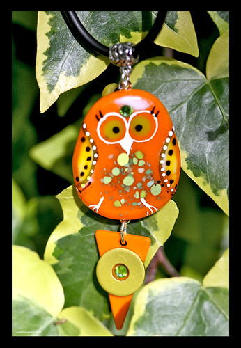 BINDI BIRD fused glass pendant by Sandra Miller ©2009 by you.
