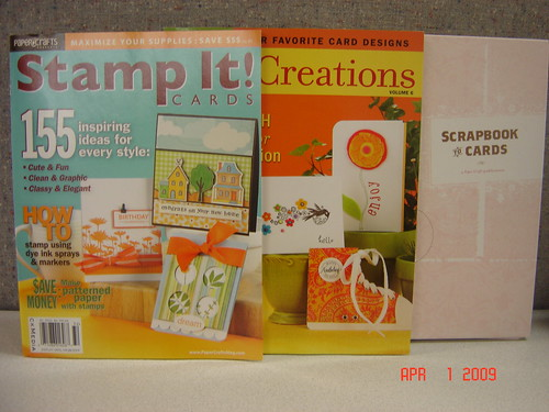 Each of our three winners will take home this prize package, which includes a copy of Stamp It! Cards, Card Creations, Volume 6 and Scrapbook to Cards!