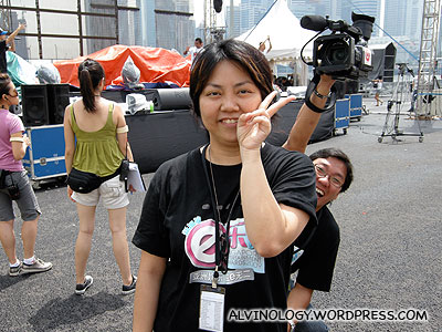 Wanli, the program manager and Ming Cai, our cameraman fooling around behind her