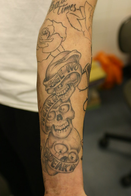 see no evil boog piece tattoo. tattooed byTattooed by Johnny at;