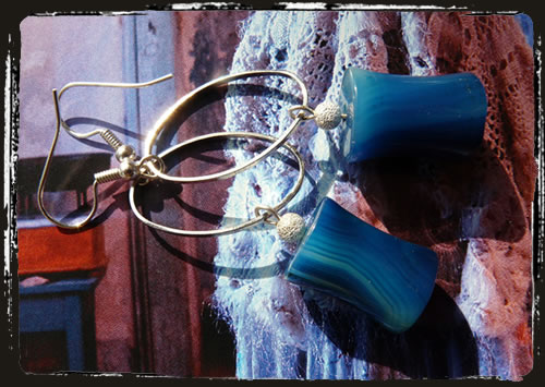 Orecchini agata blu - Blue agate earrings ICAGB