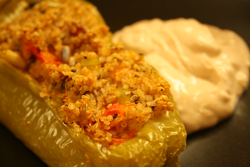 Stuffed Poblano Pepper with Tofu Chipotle Sauce