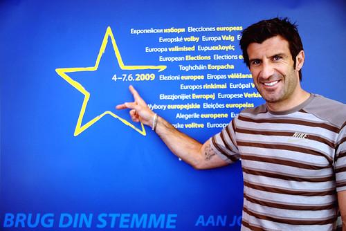 Portuguese football player Luís Figo raises awareness of the European elections