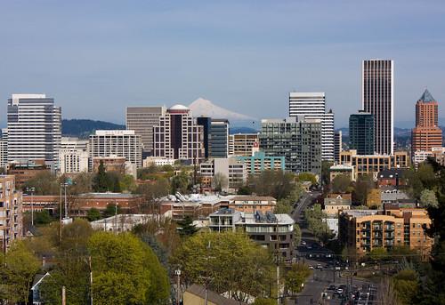 Downtown Portland, OR depuis le Vista Bridge