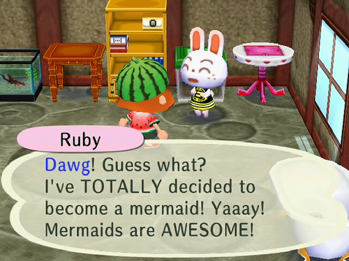 Ruby wants to be a mermaid apparently.