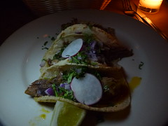 3 beef tacos at Bonita in Williamsburg, Brooklyn