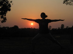 Carrie does yoga at sunset in Auroville
