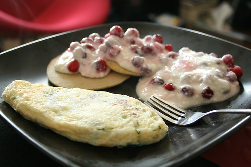 Cranberry Pancakes and Dill and Cheddar Omelet