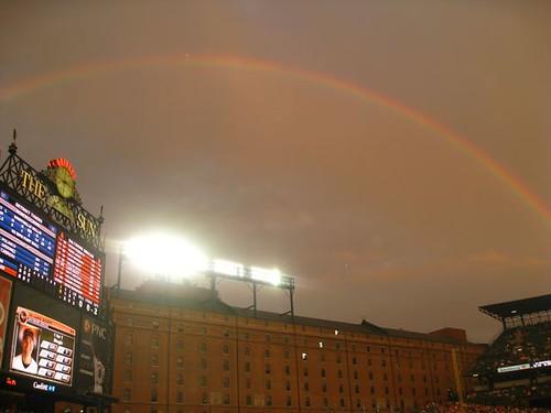 Matt Wieters and the rainbow over the Warehouse