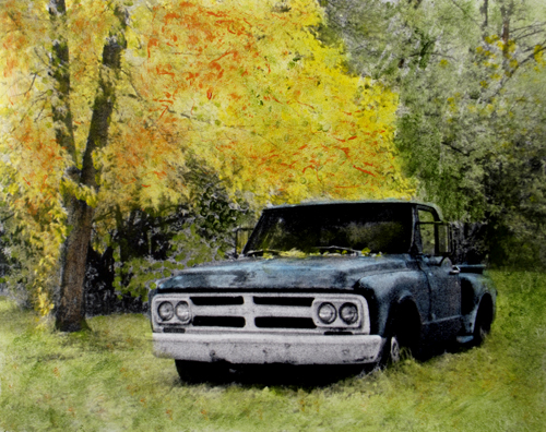 old truck hand colored photo (c) 2009, Lynne Medsker