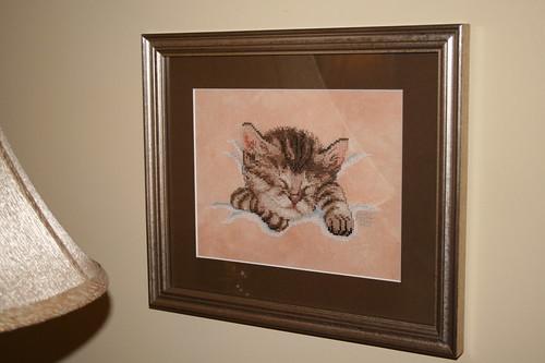 Framed 'Sleeping Kitty Cross stitch piece