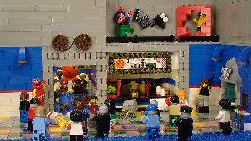 LEGO zombies in a movie theater