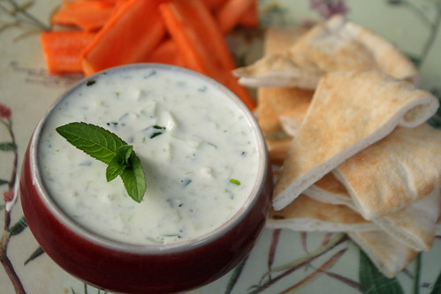 Tzatziki garnished with mint