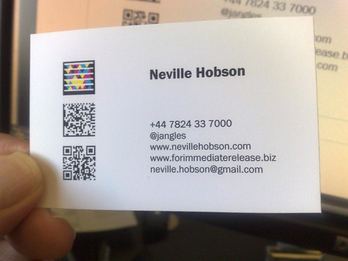 How to make your business card a smart card neville hobson the image you see at the top of this page shows three mobile barcodes that appear on my business card colourmoves