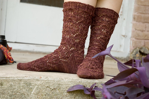 interlocking leaves socks (by bookgrl)