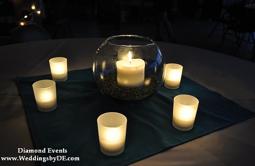 Candle centerpiece at night