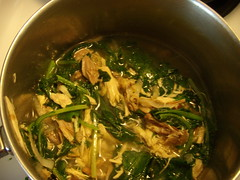 Stewed chicken and spring greens
