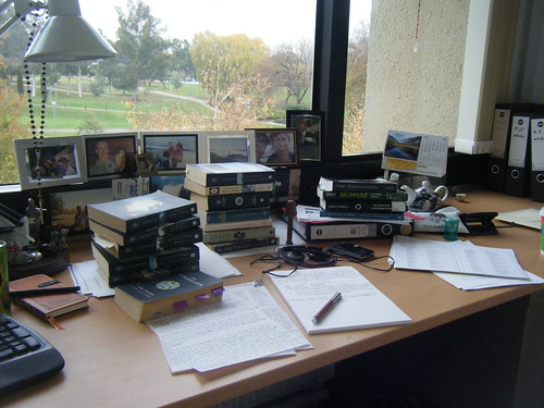 Messy chapter 1 desk. Nice view though.
