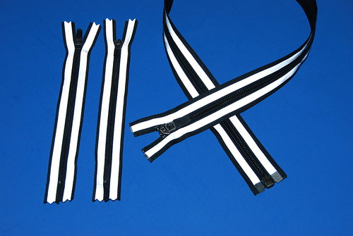 Zippers with Silver Reflective Stripes