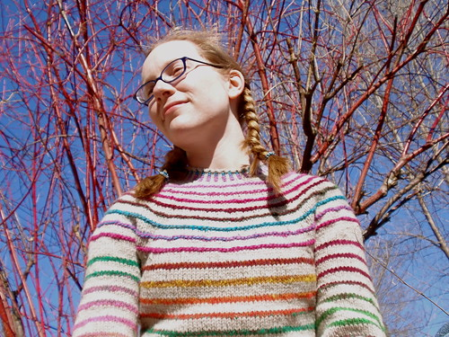 stripes! in front of a tree