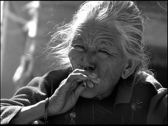 old lady from Patan(Nepal), smoking