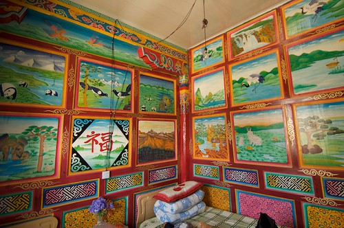 The ornate interior of the Tibetan home-stay directly behind the bus stop in Xiangcheng, China (Tibet).