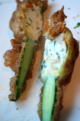 stuffed courgette flower battered.