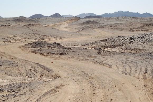 Dirt track across the Nubian desert