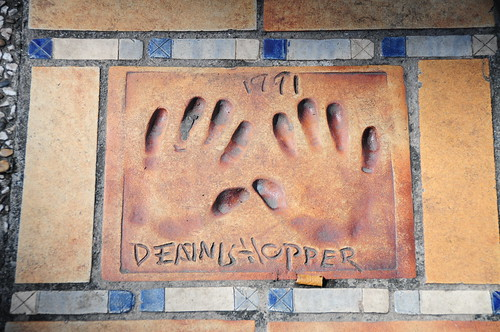 Handprints of Dennis Hopper, the 'easy rider'.