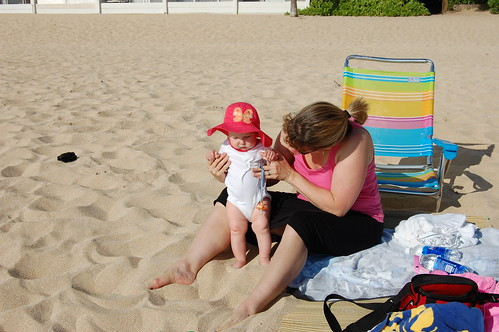 beach at Makaha, Claire's first time in the sand