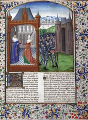 Full page with miniature of Boccaccio & Fortune in an