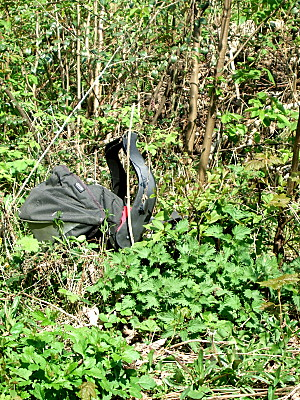 an abandoned baby carrier, just off the path where i walk. No baby in it though! Its been there for a long time. it does make for an interesting picture though.