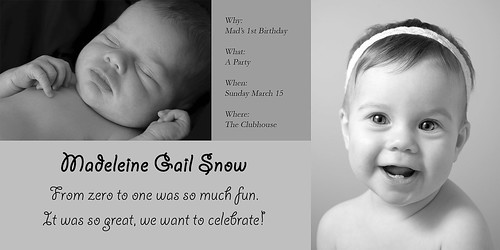 Mad's 1st Birthday Invitation