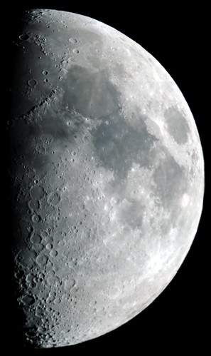 The first quarter moon shown in its correct orientation