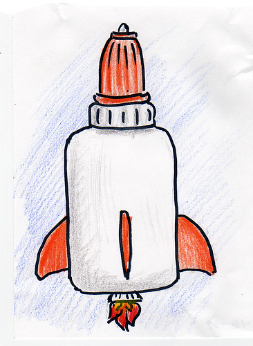 Glue bottle rocketship