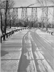 Snow Covered Road In Indian Battle Park; Viadu...