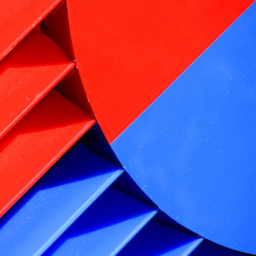 Abstraction in red and blue lines and curves