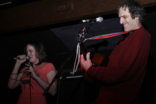 Sam DAgostino and his daughter Anna perform together during open mic at Mojos on Monday. DAgostino - who used to manage Mojos and The Blue Fugue - and his family often play music in a group they call Pop Fiction.