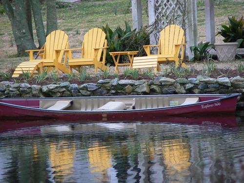 Pond House Inn - Yellow Chairs, Red Boat Reflection