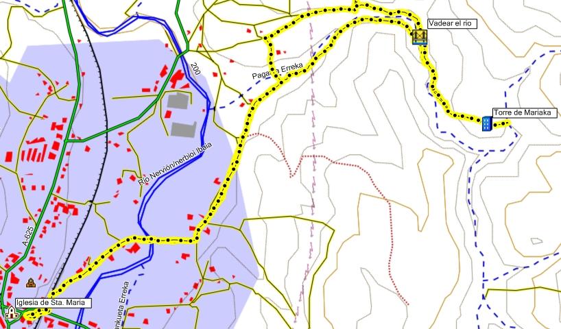 Mapa de la ruta de la torre de Mariaka en Amurrio