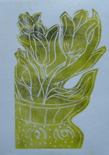 Print of tulips.