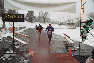 Rob at finish of Frederick Marathon