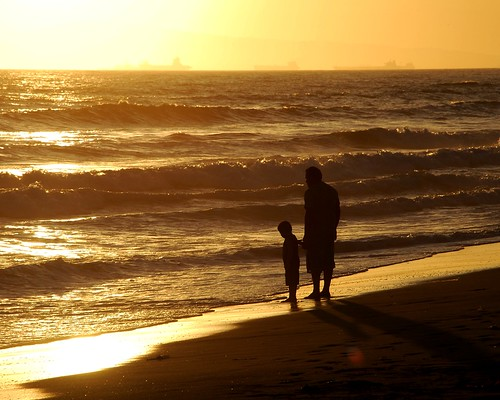 father and son silhouette by jst images.