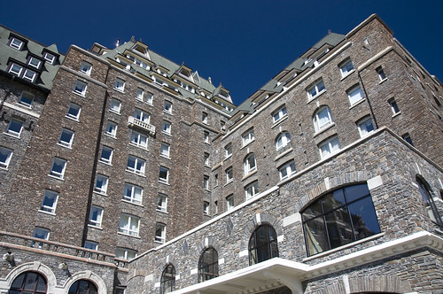 View of the Banff Springs Hotel from its Courtyard