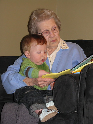 Bobby reads to great grandma